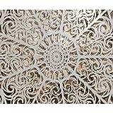 decomonkey | Fototapete Mandala 350x256 cm XL | Tapete | Wandbild | Wandbild | Bild | Fototapeten | Tapeten | Wandtapete | Wanddeko | Wandtapete | Steinwand Orient Muster weiß braun