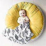 Pueri Baby Spielmatte Runde Teppich Kriechmatte Spielzelte Dekoration fürs Kinderzimmer (Gelb)