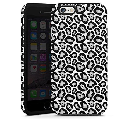 Apple iPhone 5 Housse Étui Protection Coque Animaux Look fourrure léopard gris Noir et blanc Cas Tough terne