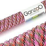 Paracord 550 Seil Pink-Camouflage | 31 Meter Nylon-Seil mit 7 Kern-Stränge | für Armband | Knüpfen von Hunde-Leine oder Hunde-Halsband zum selber machen | Seil mit 4mm Stärke | Mehrzweck-Seil | Survival-Seil | Parachute Cord belastbar bis 250kg (550lbs) Pink, rot, schwarz - Marke Ganzoo
