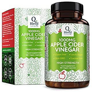 Apple Cider Vinegar - 180 Vegan Capsules - 1000mg Daily Dosage - Premium Quality Supplement - 90 Day Supply – Made in The UK by Nutravita
