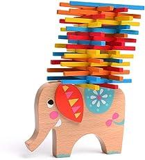 MiDeer Wooden Balance Sticks Elephant Stacking Building Balance Game 40 Pcs for Baby Kids Children Toddlers - Edu Toys