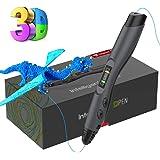 Stylo 3D Tecboss Stylo d'impression 3D avec Ecran LCD+8 Vitesses Réglables Stylo 3d Professionnel Compatible avec Filaments PLA ABS , Meilleur Cadeau - Stylo 3d pour Enfant et Adulte Noir