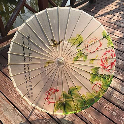 AJIAO Regenschirm Öl Papier Taschenschirm Holz Regen Frauen Dekorative Transparente Tanzschirm Regenschirm,Duft Pfingstrose -