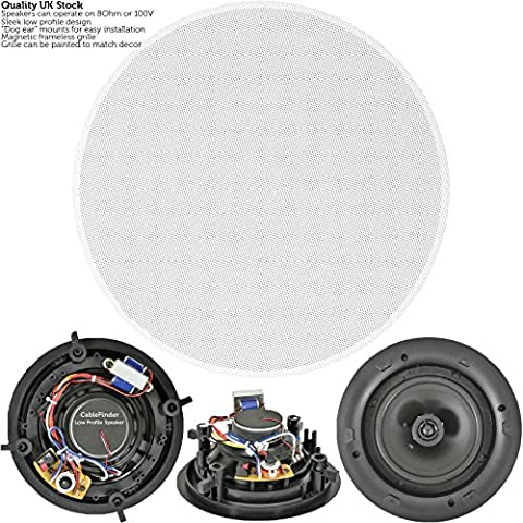 """High Quality 6.5"""" 100W 2 Way Low Profile Ceiling Speaker - 100V & 8Ohm - Wall Mount Slim - CableFinder"""