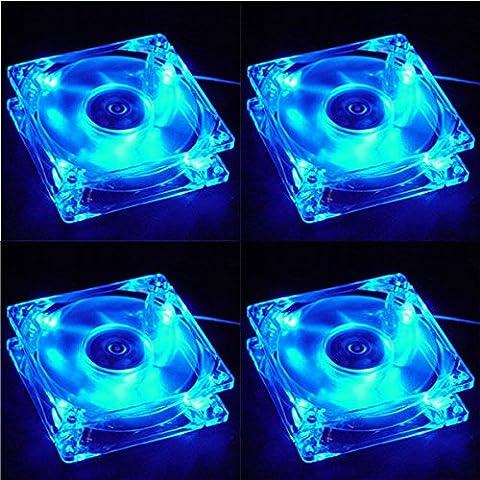 4pcs 80x 80x 25mm Blue LED Light 4-Pin Cooler Ordinateur CPU refroidissement Étui Silent Case Fan