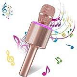 Bearbro Micrófono Inalámbrico de Karaoke Bluetooth,4 en 1 Microfono Inalámbrico Portátil con Luces LED KTV Ffiestas en el Hog
