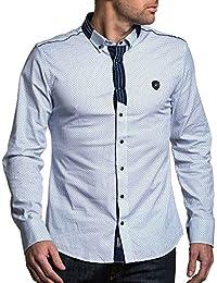 BLZ jeans - Chemise chic homme blanc bleu à motifs