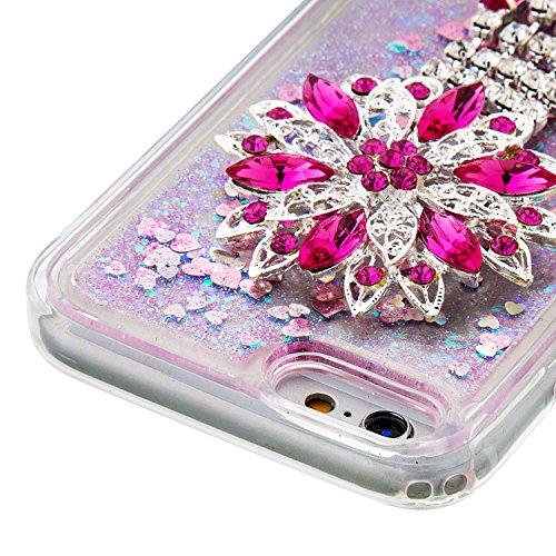 MOONCASE iPhone 6S Coque, Glitter Sparkle Bling [Lips] Faux Diamant Dessin Motif Liquide Étui Coque pour iPhone 6 / 6S (4.7 inch) Soft TPU Gel Souple Case Housse de Protection Argent 02 Rose 01