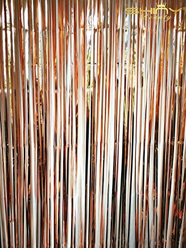 t Metallic Gold Folie Fransen Vorhang/Foto Hintergrund/Aufhängen Lametta/Gardine/Folie Fransen Fenster cutain/Die Tür/Eingang zum Aufhängen, rose gold, 3FTx8FT (Halloween Lametta)