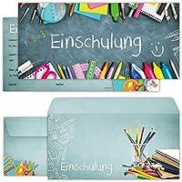 Einschulung Einladungskarten Mit Umschlägen (12er Set) Zum Schulanfang |  Liebevoll Gestaltete Einladungen Mit Schulsachen
