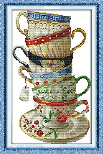Kit point de croix Niveau avancé YEESAM ART® - Motif délicieuses tasses à café - Toile blanche 14 fils 28 × 42 cm