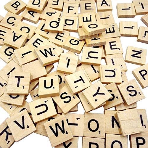 Goldge 100 Stück Scrabble Buchstaben Holz Buchstabe Fliesen Zum Spielen, Lesen für Vorschule Kinder Bildung,DIY Handwerk Dekoration (Buchstaben)