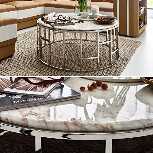 Designer Marmortisch Couchtisch Mit Marmor Weiß Alegra Rund Edelstahl Grau  Braun Meliert Wohnzimmertisch Luxus (Marmor