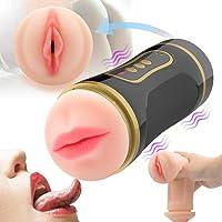 Masturbâteur Homme,3D Réaliste Masturbâteur Masculin Massage Par Vibration,Sex Toys ÉLectrique Masturbâteur Cup Coupe Vagin Et Oral Sex Machine Pour Hommes,10 Modes De Vibration