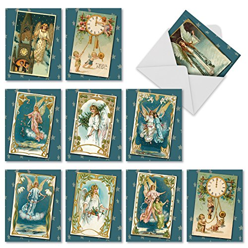 M1756XBsl Blue Angels: 10 Assorted Blank Christmas Note Cards Feature Antique Holiday Postcards of Heavenly Beings, w/White Envelopes. by The Best Card Company (Antique White Paper)
