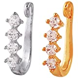 MUCH-MORE Classic Nose Ring with Cubic Zirconia Without Piercing Clip on Nose Pin for Women & Girls