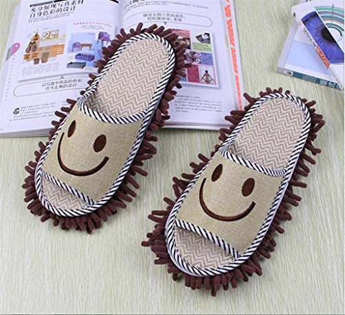 GFYWZ Cute Dust Mop Slippers Chaussures Floor Cleaner Clean Easy Salle de bain Office Kitchen / pack de 2 double , pink Blue