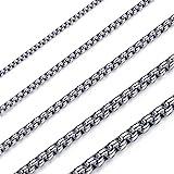 OSTAN - Collana da uomo e da donna, in acciaio inox e argento, con catena a maglia veneziana, larghezza 1,5-5 mm, lunghezza 4