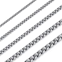 OSTAN - Collana da uomo e da donna, in acciaio inox e argento, con catena a maglia veneziana, larghezza 1,5-5 mm…