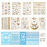 17 Blatt Temporäre Tattoos Metallic Tattoos Temporäre Tattoos Sticker Kit Tattoo Sticker für Hochzeitsmode Body Art Sticker Dekoration 180+ Teile mit 10 Packungen Remove Wipe (Hochzeit)