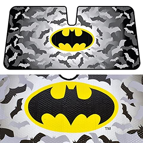Original BATMAN Warner Brothers Reflective Double Bubble Foil Jumbo Folding Accordion SUNSHADE for Car Truck SUV Front Windshield Window Reversible Sun Shade Universal 28x58 inches BDK