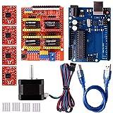 Quimat Arduino Kit CNC avec Moteur,CNC Shield V3.0 + UNOR3 + 4 pcs A4988 Driver + Nema 17 Moteur pour Imprimante 3D, GRBL Compatible