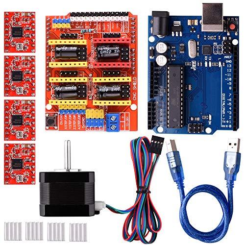 Quimat CNC-Arduino Kit para Impresora 3D, CNC Shield V3 0 + UNOR3 + 4 PCS  A4988 Controlador + Nema 17 Motor Paso a Paso, GRBL Compatible