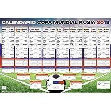 Póster XL | Calendario de la Copa Mundial de Fútbol 2018 en Rusia | Con todos los grupos y juegos | 68,5 x 101,5 cm