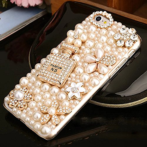 Bling Bling iPhone 7 Hülle, MOMDAD Diamant Glitzer Glänzend Handmade Schutzhülle für iPhone 7 Handyhülle Transparent PC Hart [Spiegel Mirror Blume Pearl Perle] Case Cover Luxus Crystal Strass Shining  Diamond # 8