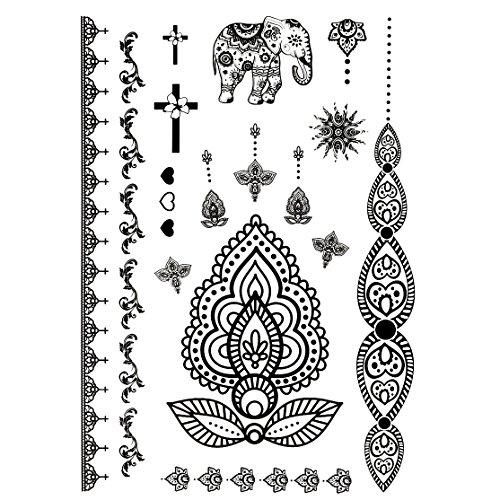Oottati tatuaggi temporanei nero pizzo mandala bracciale elephant croce (set di 2)