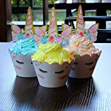AMZTM Decoración para Tartas Mágico Arco Iris Unicornio Cupcake Toppers Wrappers 24 Piezas De Suministros para La Fiesta Conjunto De Decoraciones para Cumpleaños Boda Ducha De Bebé Compromiso