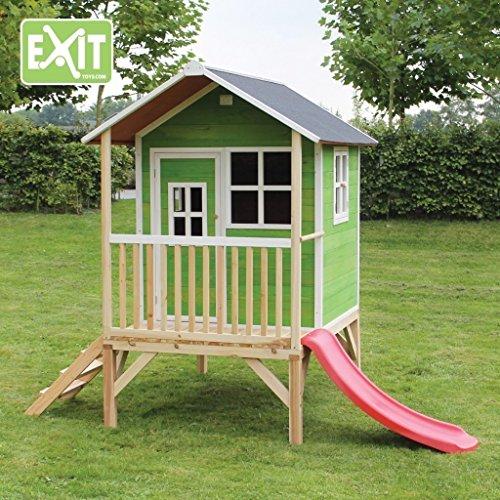 EXIT Loft 300 Green / Spielhäuschen auf Stelzen mit Veranda + Rutsche / Material: Zedernholz / Maße: 260 cm x 185 cm x 225 cm / Gewicht: 114