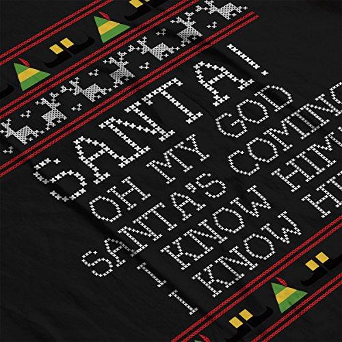 Santa Oh My God I Know Him Elf Quote Christmas Knit Women's Vest Black