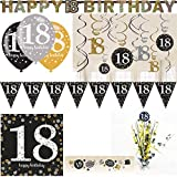 18. Geburtstag Party Deko Set Volljährig Partyartikel gold schwarz silber