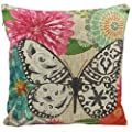 Nunubee Linen Cotton Butterfly Pillow Cushion Cover Throw Pillow Case