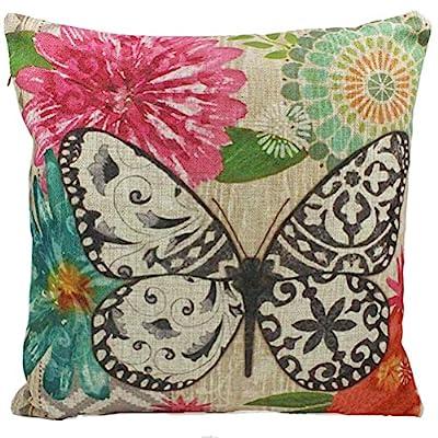Nunubee Linen Cotton Butterfly Pillow Cushion Cover Throw Pillow Case