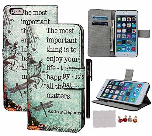 """xhorizon® Neu Aquarell Leder Gemalt Serie Handytasche Mehrere Muster Hülle Schwarz Haut Schale für Apple iPhone 6 Plus (5.5"""") #1-Genießen Sie Ihr Leben"""