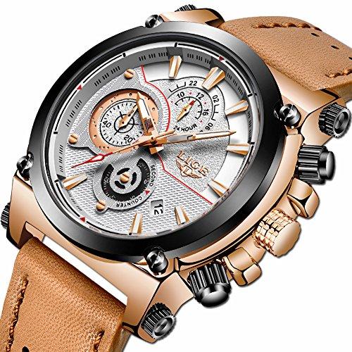 Relojes para hombre,LIGE Cronógrafo Impermeable Militar deportivo analógico de cuarzo Reloj Correa de Cuero Marrón Cara grande Fecha Moda Casual Lujo Relojes de pulsera oro rosa blan