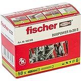 fischer DUOPOWER 6 x 30 S, universele pluggen met veiligheidsschroef, 2-componenten pluggen, kunststof pluggen voor bevestigi