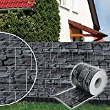 Dazone® PVC Sichtschutzstreifen Zaunfolie Blickdicht inkl. 30 x Befestigungsclips 19 cm x 70 m (Schiefer)