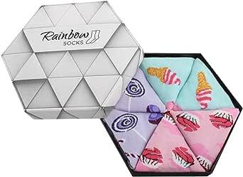 Rainbow Socks - Femme Homme Chaussettes Fantaisie Sucré - 3 paires
