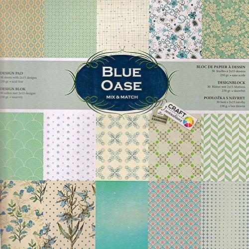 Scrapbooking Papier Vintage Motivblock (15 - BLUE OASE) Bastelpapier 230gr/qm - Grösse je 30,5 cm x 30,5 cm