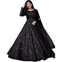 Fashion Web Women's Velvet Sequins Semi-Stitched Anarkali Gown