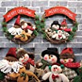 36CM Christmas Wreath,Wawer Merry Christmas Garland Doll Decorations Outdoor Ornaments,Xmas Door Wall Hanging Garland Ornament Wreaths