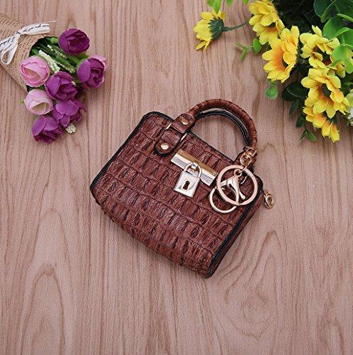 Dairyshop Donne Ragazze Modificare il sacchetto di supporto dell'anello chiave della moneta della borsa della chiusura lampo (marrone) marrone