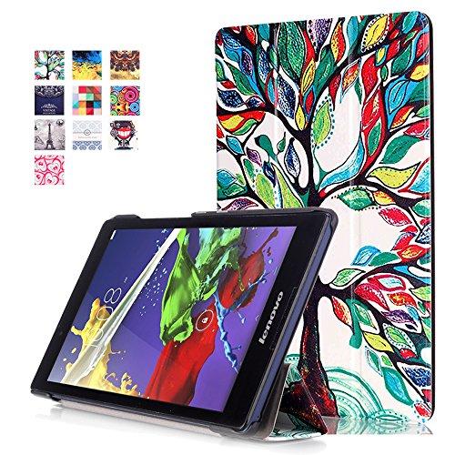Housse Lenovo Tab 2 A8-50 - Slim-Fit Housse Smart Case Flip Cover Coque Etui en Cuir pour Tablette Lenovo Tab 2 A8-50 8 Pouces (20,3 cm) Case avec Pochette Fonction de Support (#2 Arbre coloré)