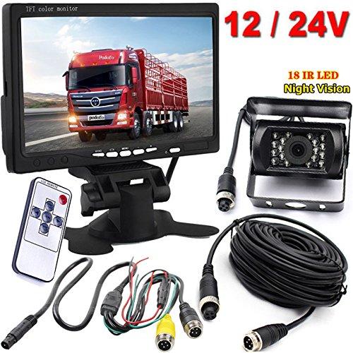 Xinyida Rückfahrkamera, 4-polig, 12 V bis 24 V, 18 LEDs, IR-Nachtsicht, wasserdicht, mit 15 m Kabel + 17,8 cm Farb-TFT-LCD-HD-Automonitor für Wohnmobil, Bus, LKW, Anhänger - 15 Lcd-kabel -