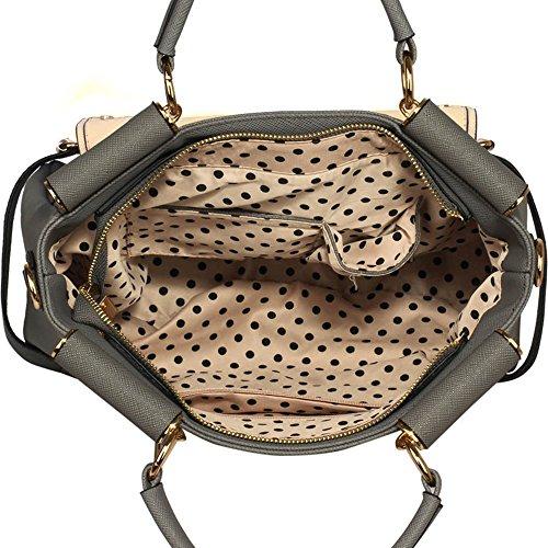 LeahWard® Große Größe oben Griff Kunstleder nett Groß Handtaschen Satchels Taschen 237 A-Grau/nackt