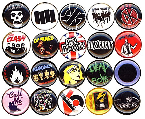 Punk Button Pin Set von 20 2,5 cm Zoll (25 mm) Blondie Ramones Clash Misfits Damned Keime Sex Pistols